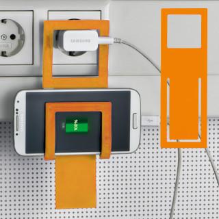Handyhalter Metall mit Silikonüberzug, orange
