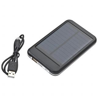 Solar Powerbank aus Metall mit 4.000 mAh Speicherkapazität, inkl. Ladekabel, schwarz