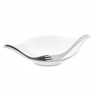 LEAF L+ Salatschale mit Besteck 3l, cotton white-deep grey/soft grey