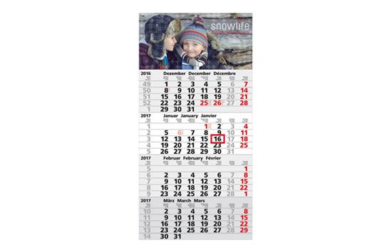 3-Monatskalender mit Werbedruck